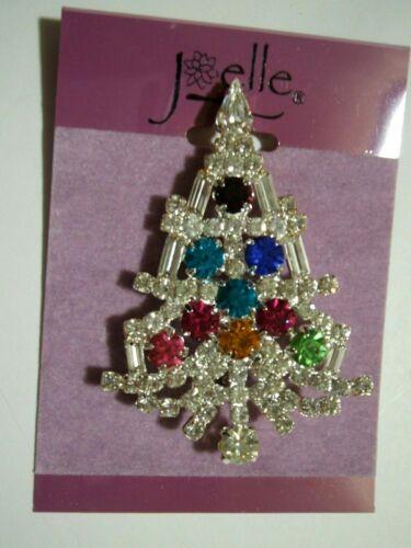 JOELLE   Rhinestone  Christmas  Tree  Pin