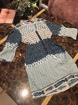 Zara Basic Tunic Dress M Floral Boho Kaftan Ethnic Print Hippie 3/4 Sleeve