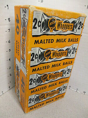 WHOPPERS Leaf chocolate malt balls 1950s vintage candy box store display