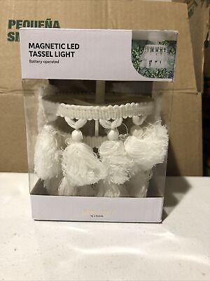 U-Brands Locker Style Magnetic LED Tassel Light Mini Chandelier Battery Operated