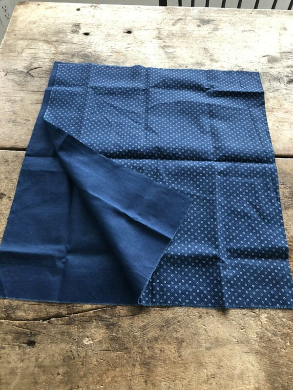 Vintage Antique Blue Indigo Cotton Fabric 1920-1930