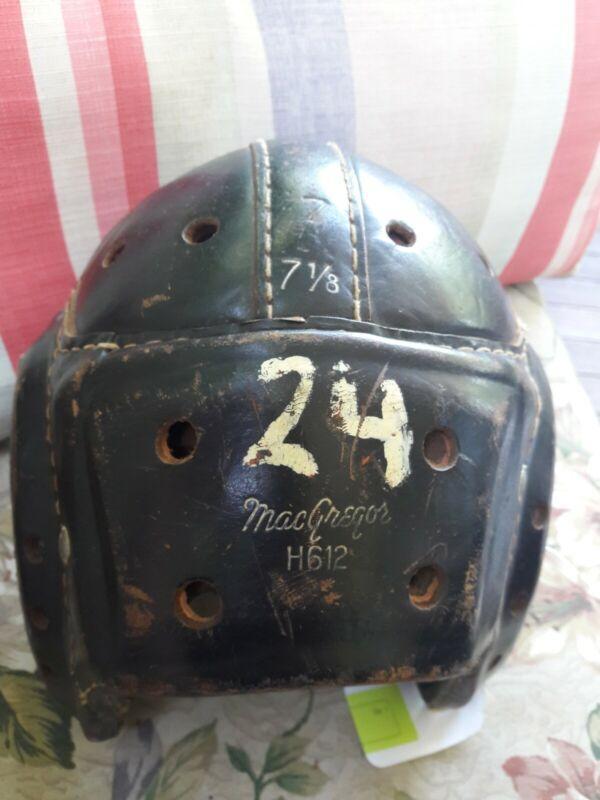 Vintage MacGregor H612 Brown Leather Football Helmet #24 size 7 1/8