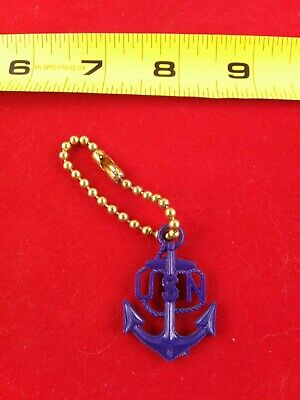 1940s Jewelry Styles and History Vintage 1940's 50's Blue US Navy Keychain Fob Key Ring Key Chain *QQ36 $75.00 AT vintagedancer.com