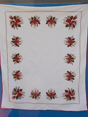 Traditional German Clothing (VINTAGE TRADITIONAL GERMAN  CHRISTMAS POINSETTIAS CANDLES PRINT TABLE CLOTH)