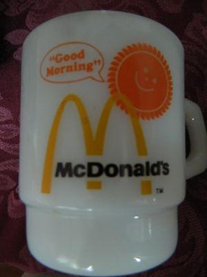 "NICE VINTAGE McDONALD'S ""GOOD MORNING"" MUGS-FIRE KING-ANCHOR HOCKING-EUC"