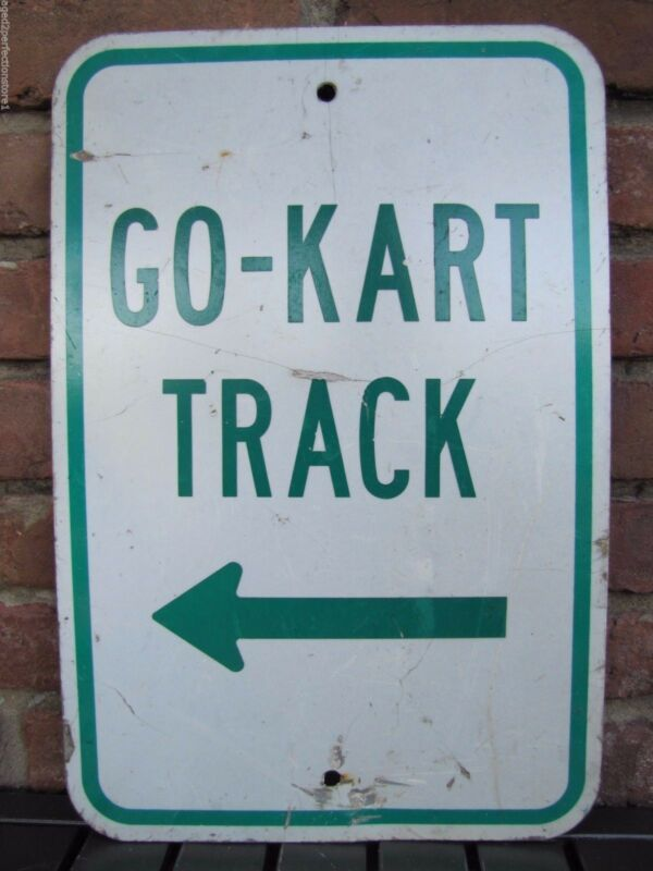 Original GO-KART TRACK Directional Arrow Sign retired Pa Amusement Park Ad