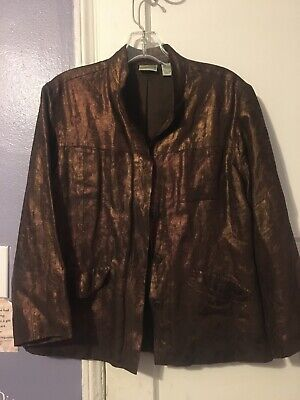 chicos brown metallic jacket size 1