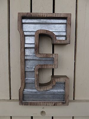 Large WOOD & CORRUGATED METAL - Wedding Home Family - Wall INDUSTRIAL LETTER E