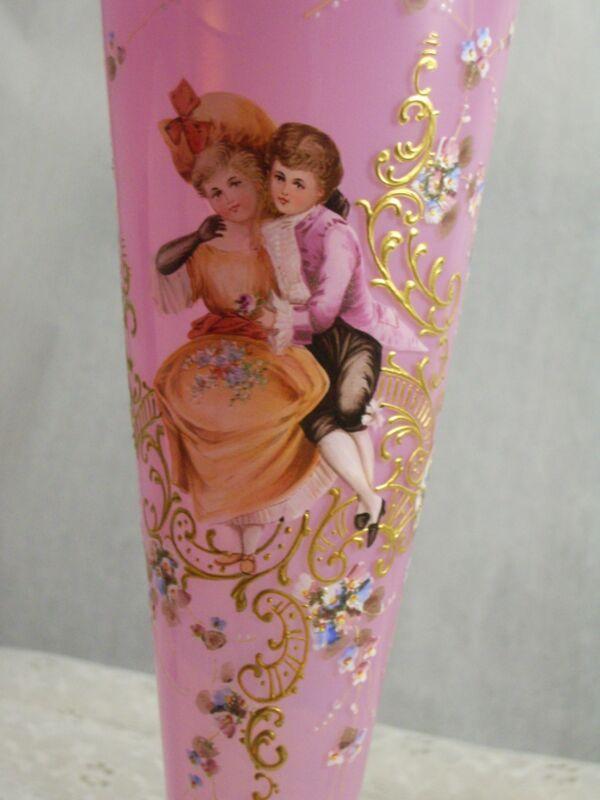 Victorian Moser antique vase pink opaline beautiful enamelled trumpet shape