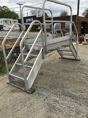 Aluminum Crossover Bridge Step Ladder Industrial Stairs 9ft Width Can Ship