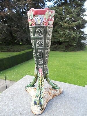 TRES GRAND 40CM ET ANCIEN VASE TRIPODE EN BARBOTINE DEBUT 1900 TBE