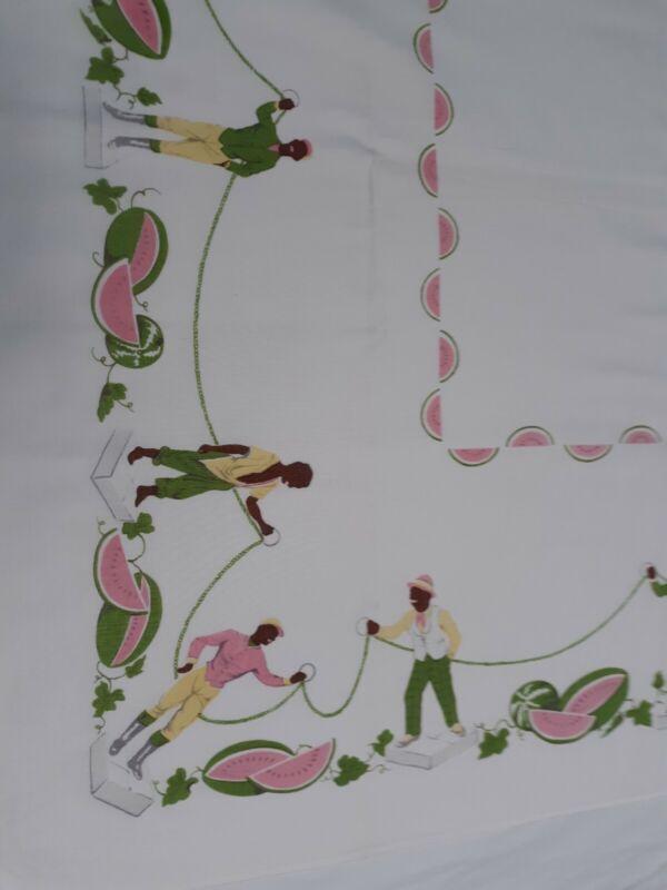 "Rare Vintage Black Americana Linen Tablecloth 49 x 45"" Lawn Jockey Watermelons"