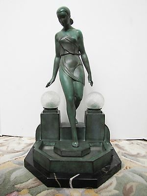 Original French Art Deco Bronze Figurine Table Lamp by Fayral