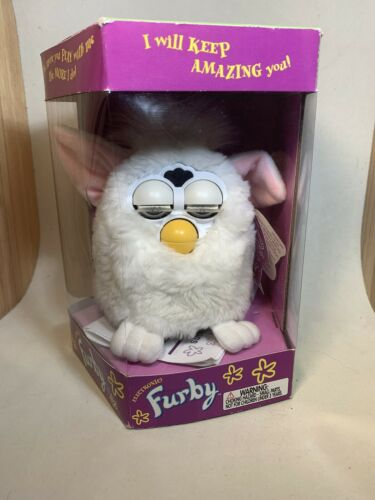 Original 1998 First Edition Electronic Furby Model 70-800 White/Pink Ears