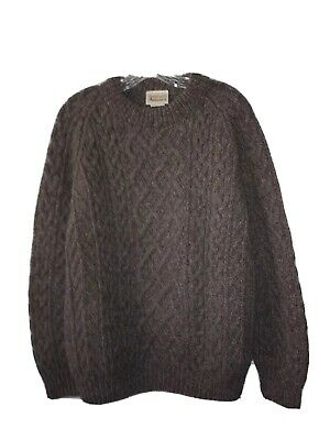 HOT Aran Crafts heathered oatmeal brown Fisherman cabled wool sweater Ireland