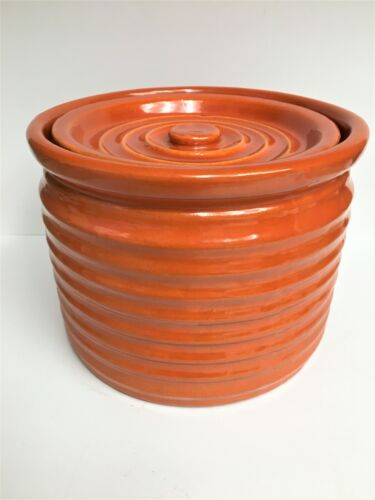 EARLY PERIOD BAUER RINGWARE ORANGE-RED #3 SPICE JAR / CANISTER & LID