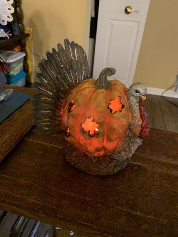 Thanksgiving HOLIDAY CERAMIC LIGHT UP Pumpkin Turkey (RARE)