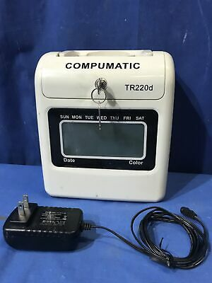 Compumatic Tr220d Heavy Duty Time Clock W2 Keys Free Shipping