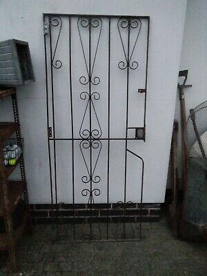 Black Wrought Iron Side Garden Gate / Door , vintage heavy gate  collection de72
