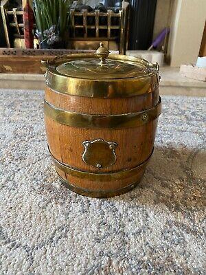 Antique Vintage English Oak Brass Biscuit Barrel