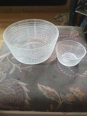 iittala Kastehelmi 31.5cm plate, 11.25 cm and 20 cm bowls. Set. Clear