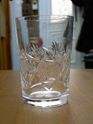 Vintage Edinburgh Crystal Cut Glass Tumbler - Signed In V.G.C. Free UK Postage