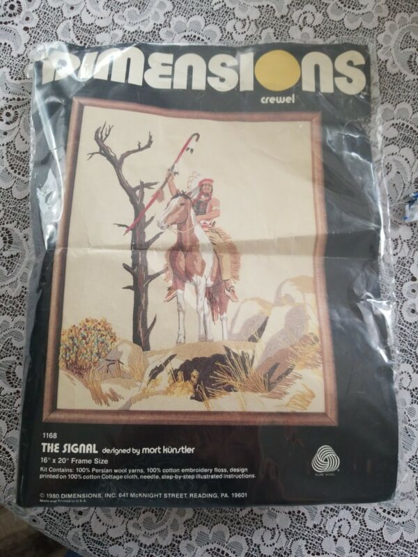 Vtg 1980 The Signal Dimensions Indian Native American Crewel Embroidery Kit