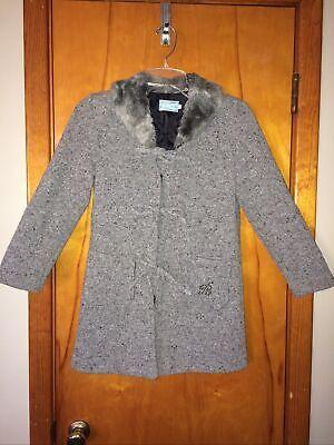 Miss Blumarine Gray Tweed Fur Collar Girls Coat Size 10
