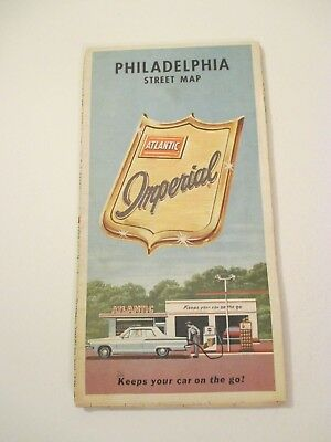 Vintage 1965 Imperial Philadelphia PA Oil Gas Service Station City Road Map