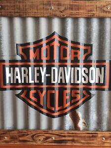 Jack Daniels & Harley Davidson Framed Corrugated Iron Sign Templestowe Manningham Area Preview