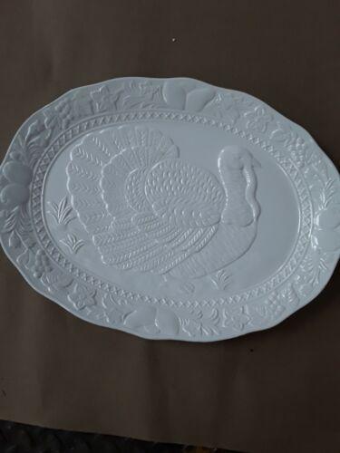 "Vintage Large White Thanksgiving Oval Turkey Platter 18.5"" Wide"