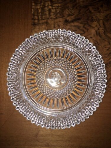 Vintage Clear Crystal Round Diamond Cut Design Plate