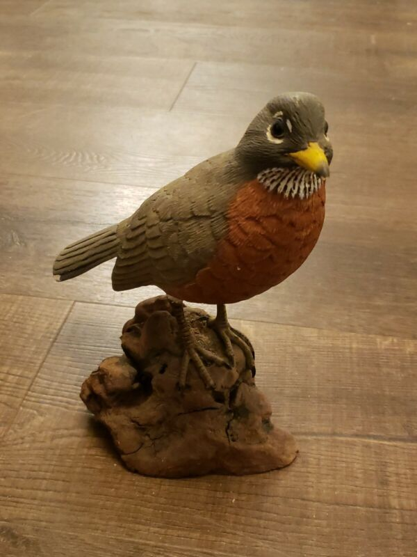 Vintage Hand Carved Wood Bird Robin By Don Hovie