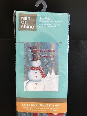 """New - Rain or Shine Art Flag Porch Flag 28"""" x 40"""" WINTER - Build A Snowman?"""