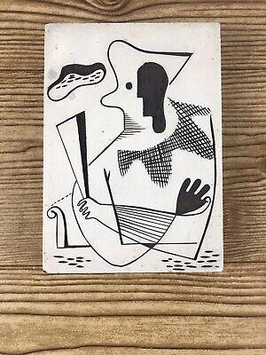 Weber Linoleum Hand Carved White Surface Printing Blocks Folk Art Vintage