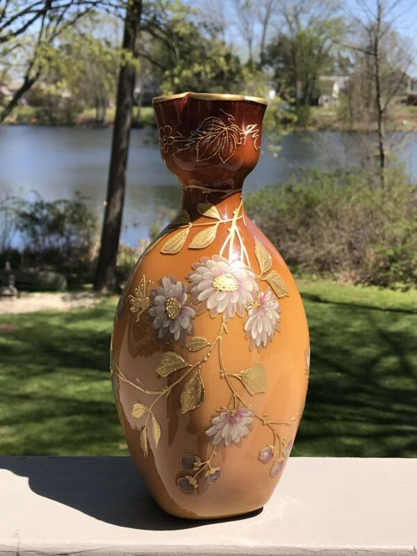 Antique Webb Cased Art Glass Vase with Heavy Enamel & Raised Gold Decorat