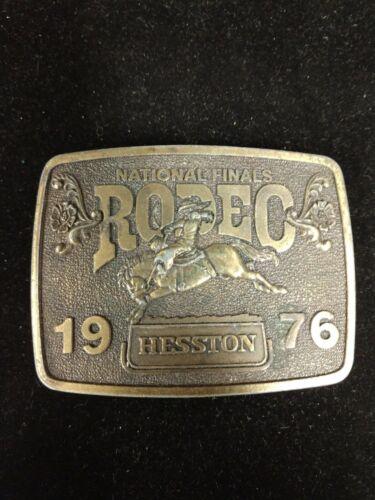 Vintage Hesston 1976 National Finals Rodeo Brass Belt Buckle Bicentennial Cowboy