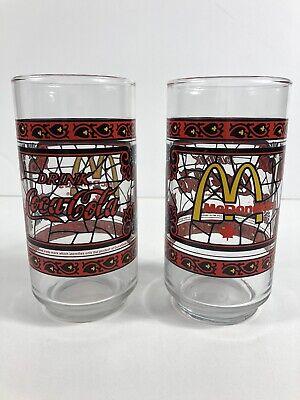 Vintage McDonalds Coca Cola Drinking Glasses Red Stainglass Design Retro Coke