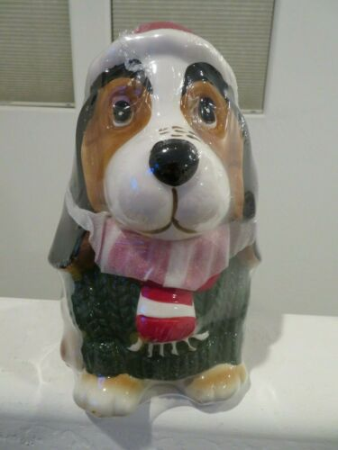 Ceramic Basset Hound Dog Christmas Holiday Cookie Jar Sweater Scarf NEW Wrapped