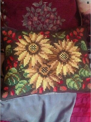 STUNNING SUNFLOWER TAPESTRY CUSHION 15x12ins, COMPLETED NEEDLEWORK, Brown Lined.