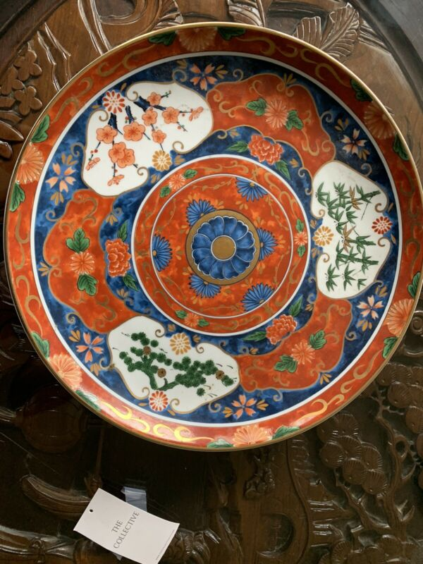 "VINTAGE JAPAN PORCELAIN GOLD IMARI 14"" PLATE CHARGER HAND PAINTED"