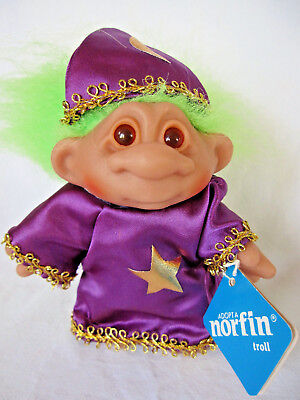 "Thomas Dam Norfin Troll Wizzard Doll - Tag - Little Wiz - 1986 - 5"" - Green Hair"