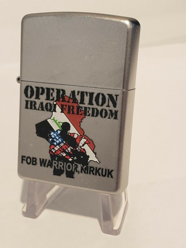 NEW Vintage Zippo Military Lighter OPERATION IRAQI FREEDOM FOB WARRIOR KIRKUK