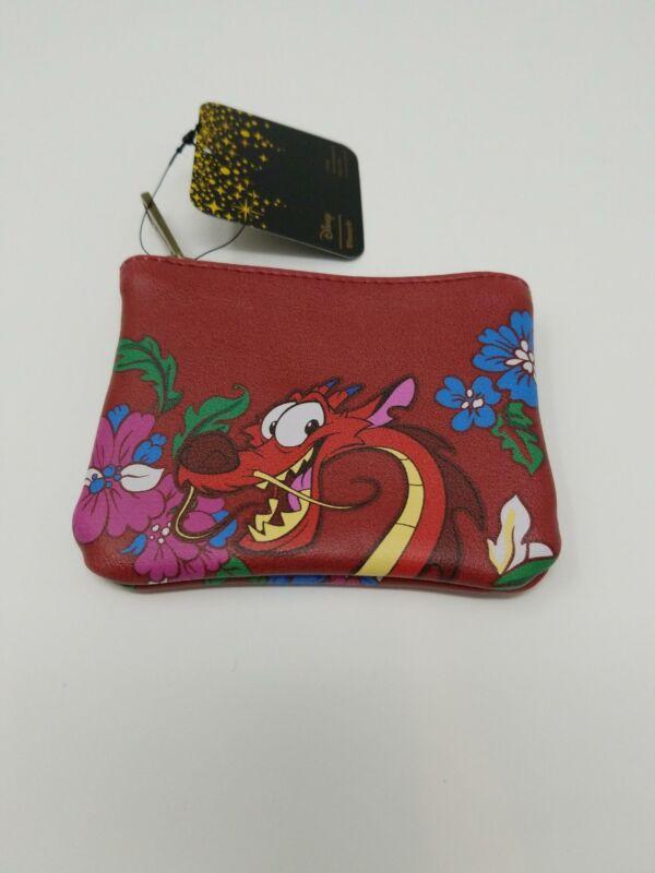 Loungefly x Disney Mulan Dragon Mushu Floral Coin Purse Cardholder Wallet NWT