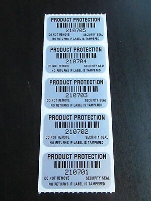 100 1.5 X .75 Inch Matte Barcode Numbered Tamper Evident High Security Labels