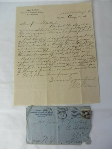 Vintage 1918 WWI Handwritten Letter and Envelope Reference Allies France #11033