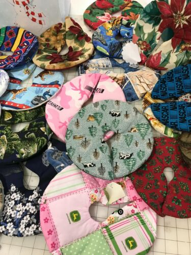 """10 assorted Christmas tree skirts 5"""" to 12"""". We pick lined with batting"""