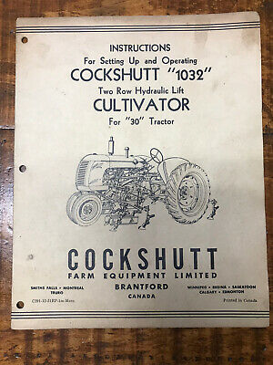Vintage Cockshutt 1032 Instruction Operating Manual Cultivator 2 Row Hydraulic