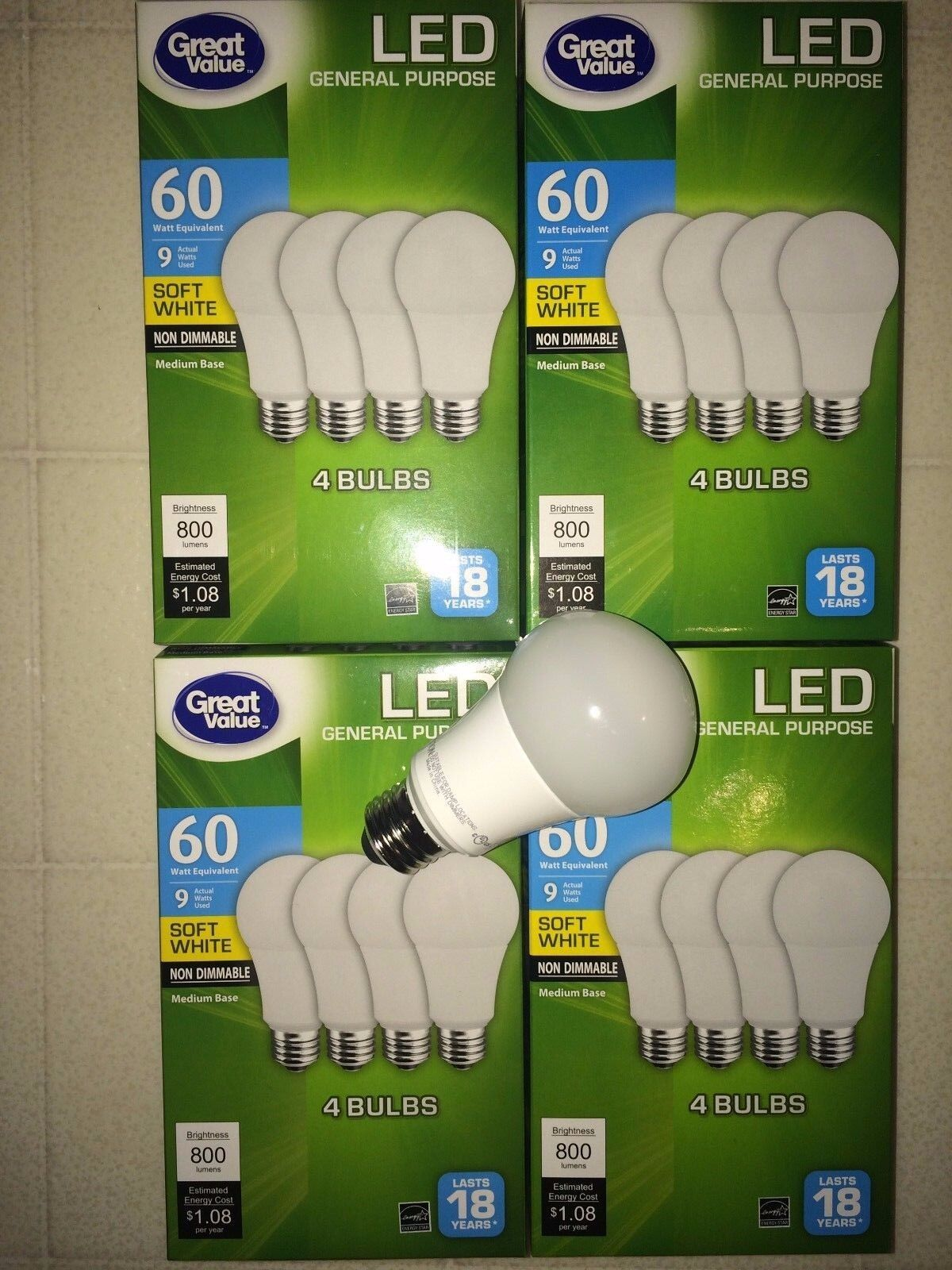 Great Value LED Light Bulb, 9W 60W Equivalent, Soft White, 4