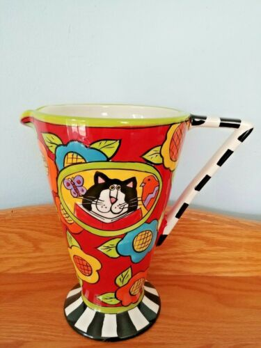 "CATZILLA HAND PAINTED CANDACE REITER DESIGNS 8.5"" X 5.5"" X 8.5"" PITCHER 2005."